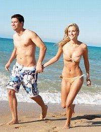 para na plaży, morze